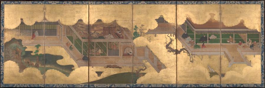 Kyoto Kano School, 1625-1660, scene din Povestea lui Genji